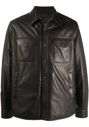 Ajmone leather shirt jacket - Brown