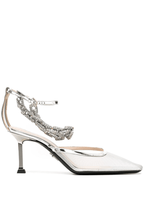 Cesare Paciotti crystal embellished pumps - SILVER