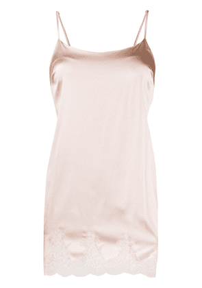 Fleur Of England silk slip with lace hem - PINK