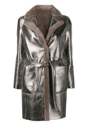 Blancha reversible leather jacket - Silver