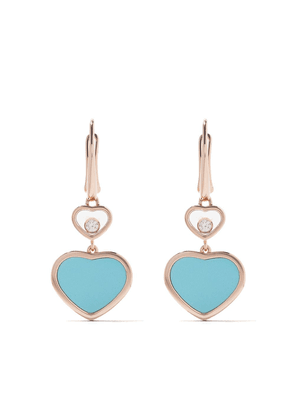 Chopard 18kt rose gold Happy Hearts turquoise and diamond drop earrings