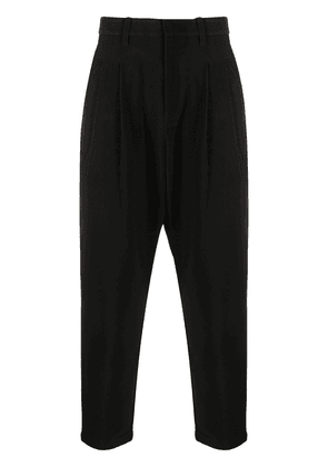 Attachment drop-crotch tapered trousers - Black