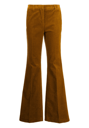 Brag-wette high-rise flared corduroy trousers - Brown