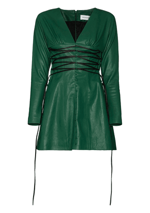 16Arlington Iris V-neck leather mini dress - Green