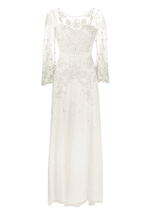 Jenny Packham Apache embroidered-tulle wedding gown - Neutrals