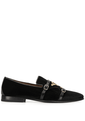 Malone Souliers embroidered buckled loafers - Black