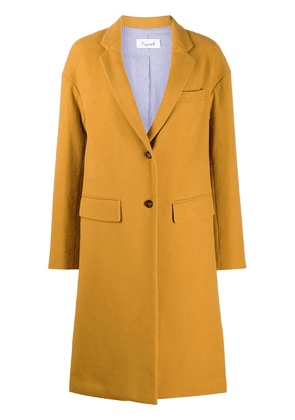 Brag-wette loose single-breasted coat - Yellow