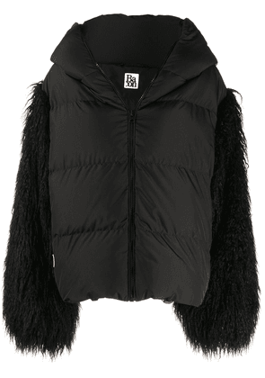 Bacon faux fur sleeve puffer jacket - Black