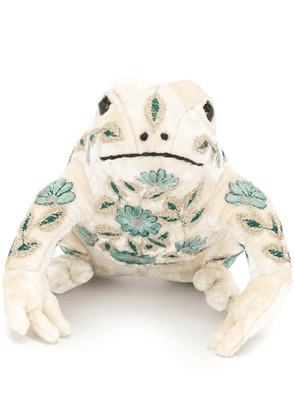 Anke Drechsel embroidered frog soft toy - White