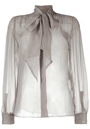 Saint Laurent sheer silk bow blouse - Grey