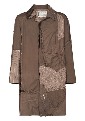 By Walid Issac patchwork style trench coat - Grey