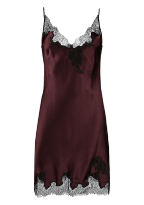 Carine Gilson lace-panelled slip dress - Red