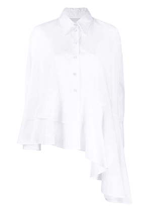 Erika Cavallini long-sleeve asymmetric hem shirt - White