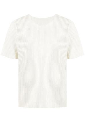 Issey Miyake pleated shortsleeved top - White