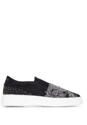 By Walid patterned beaded embroidered sneakers - Black