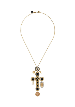 Dolce & Gabbana 18kt yellow gold sapphire cross charm necklace