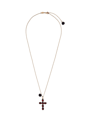 Dolce & Gabbana 18kt yellow gold rhodolite cross pendant necklace
