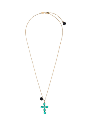 Dolce & Gabbana 18kt yellow gold emerald cross charm necklace