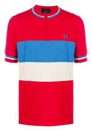 Fred Perry collarless stripe polo shirt