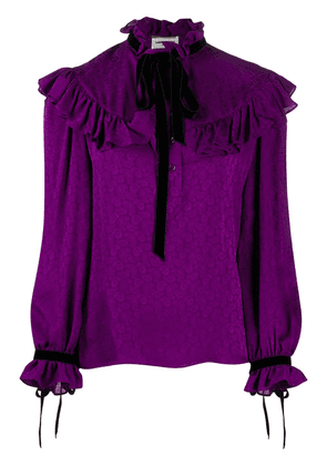 Saint Laurent ruffled paisley pattern blouse - PURPLE