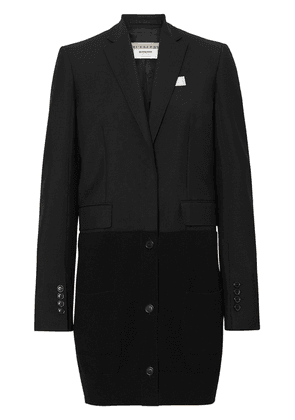 Burberry Cashmere Panel Wool Mohair Tailored Jacket - Black