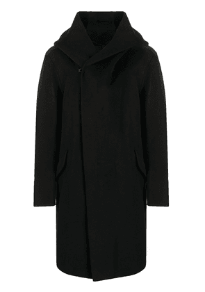 Attachment double-breasted hooded coat - Black