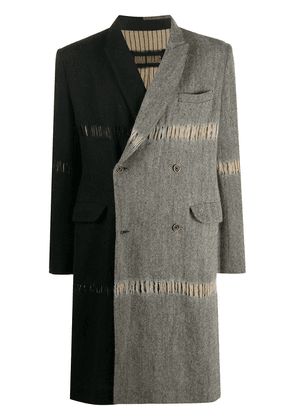 Uma Wang colour block distressed coat - Black