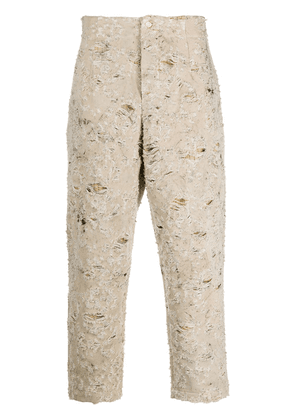 Uma Wang distressed wide-leg trousers - Neutrals
