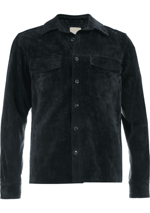 Ajmone collared suede jacket - Blue