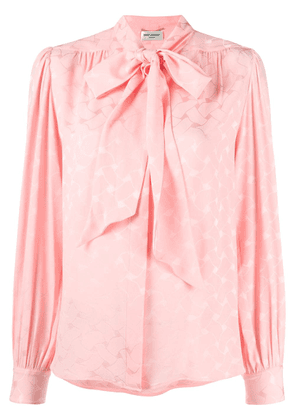 Saint Laurent pussy-bow ruched blouse - PINK
