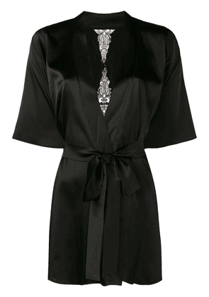 Fleur Of England Onyx lace-embroidered robe - Black