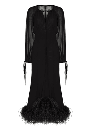 16Arlington faux feather-trimmed evening dress - Black