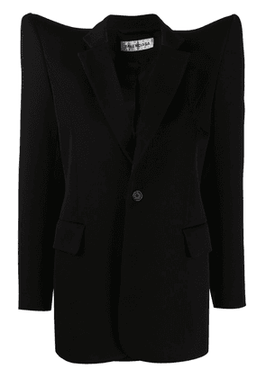 BALENCIAGA exaggerated-shoulder single-breasted jacket - Black