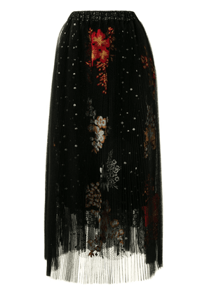 Biyan embroidered pleated midi skirt - Black