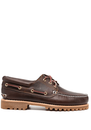 Timberland embossed logo boat shoes - Brown