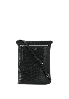 Saint Laurent embossed crocodile effect messenger bag - Black