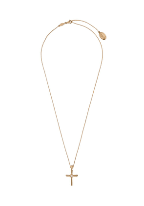 Dolce & Gabbana 18kt yellow gold Family diamond cross pendant necklace