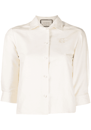 Gucci logo-embroidered blouse - Neutrals