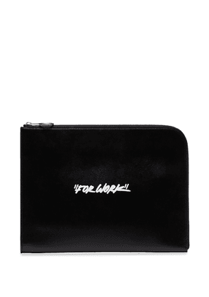 Off-White quote print clutch bag - Black