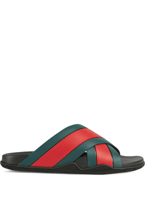 Gucci Web panelled slides - Green