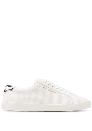 Saint Laurent Andy perforated leather sneakers - White