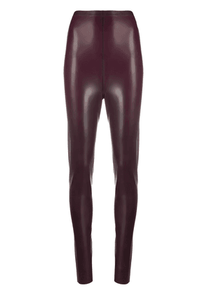 Saint Laurent high-waisted latex leggings - PURPLE