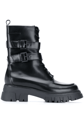 Ash buckle detail combat-boots - Black