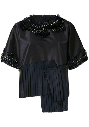 Biyan asymmetric embellished blouse - Blue