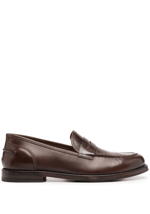 Alberto Fasciani penny-slot leather loafers - Brown