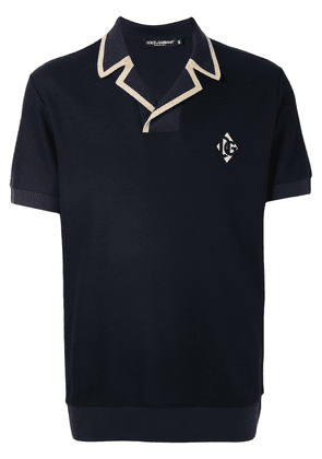 Dolce & Gabbana DG logo patch polo shirt - Blue