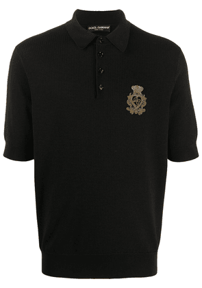 Dolce & Gabbana embroidered logo knitted polo shirt - Black