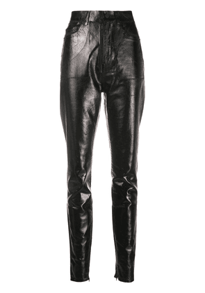 Saint Laurent high-waisted leather effect trousers - Black