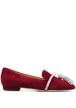Giannico Louis bejewelled tassel loafers - Red