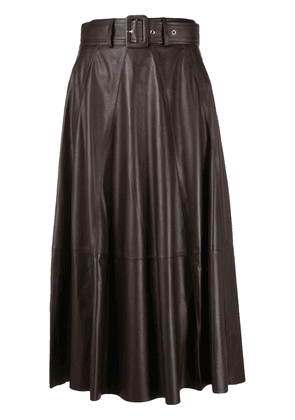Arma pleated midi-length skirt - Brown